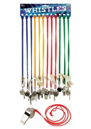 Metal Whistles with Coloured Strings (5.5cm)
