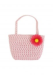 Girls Pink Woven Bag with Flower