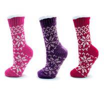Ladies Fairisle Knit Slipper Socks with Grip