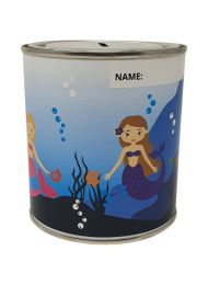 Mermaid Money Box Tin with Removable Lid