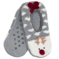 Ladies Reindeer Slipper Socks