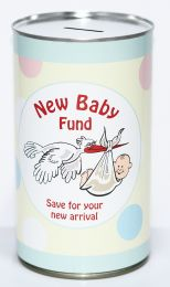 New Baby Fund Cash Can Savings Tin - (LRG)
