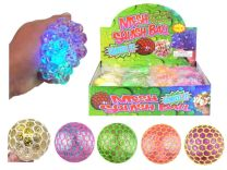 Light Up Mesh Squeeze Balls with Glitter 7cm
