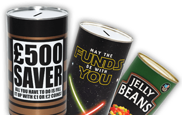 Largest range of saving tins